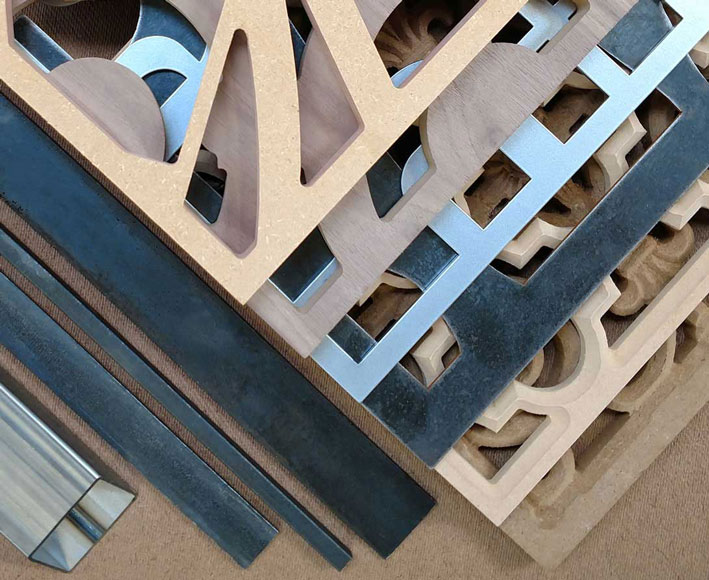Tableaux Decorative Grilles are cut from recycled wood or sustainable metal substrates with material characteristics that complement any design style and Hospitality Design project theme